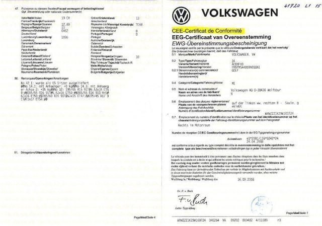 Certificat de conformité GRATUIT VOLKSWAGEN AU 03 68 38 18 00 ou au 08 91 03 88 18 mais également par mail info@euro-conformite.com