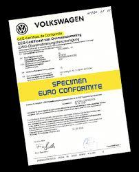 certificat de conformité volkswagen pour Ants