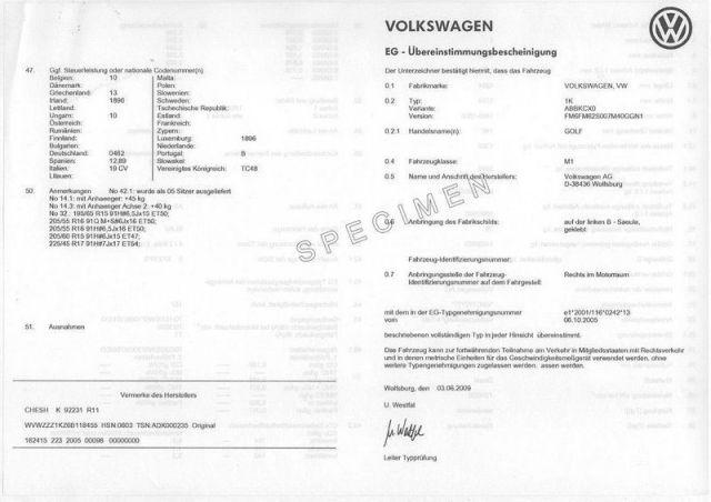 Certificat de conformité européen COC VOLKSWAGEN GRATUIT PAS CHER