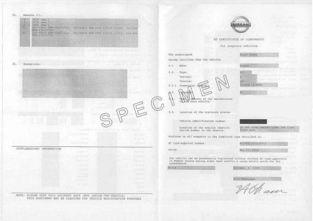 Certificat de Conformité Nissan Gratuit pour voiture Nissan importée