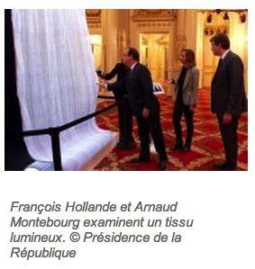 Luminous fiber optic presented to the Elysee Palace.