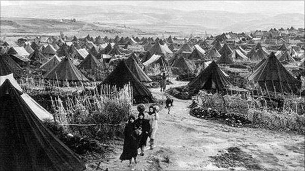 Un camp de réfugiés palestiniens en 1948