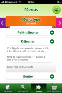 menus types bébé myblédina
