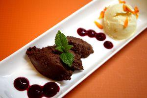 mousse au chocolat, orangen-joghurt-eis