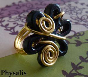 bague fleur noir et doré