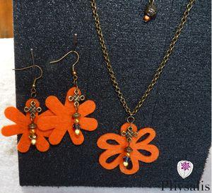 parure feutrine orange détail
