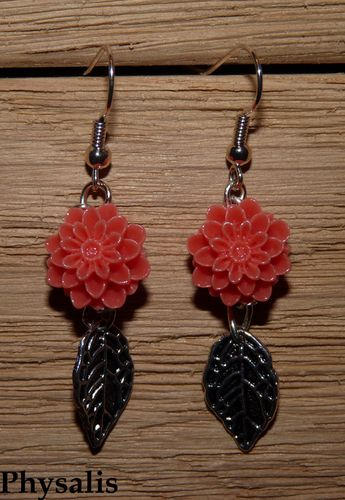 boucle d'oreilles fleur corail