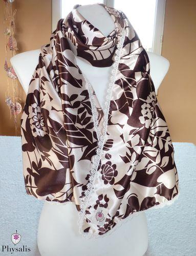 foulard chocolat beige