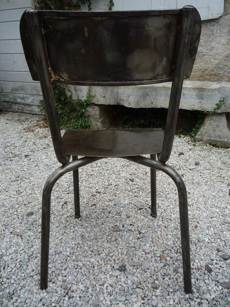 CHAISES TOLE TYPE ECOLE 1950 METTETAL INDUSTRY DESIGN