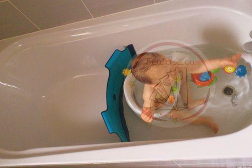 le reducteur se pose sur la baignoire en pliant legerement les bords pour les adapter a la largeur de la baignoire il faut ensuite appuyer sur les 2