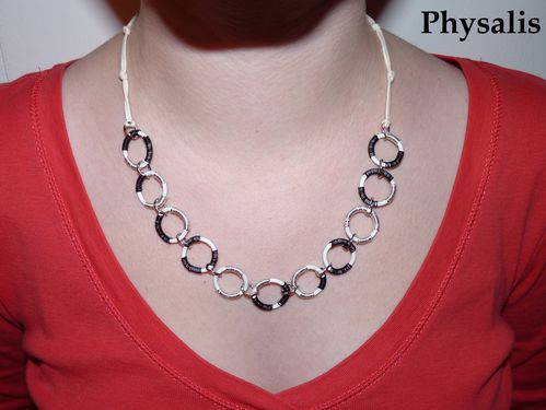 collier anneau alu blanc noir argent