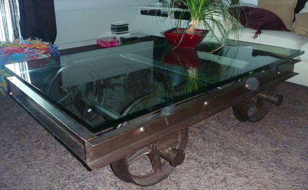 TABLE BASSE WAGONNET DE MINE METTETAL INDUSTRY DESIGN