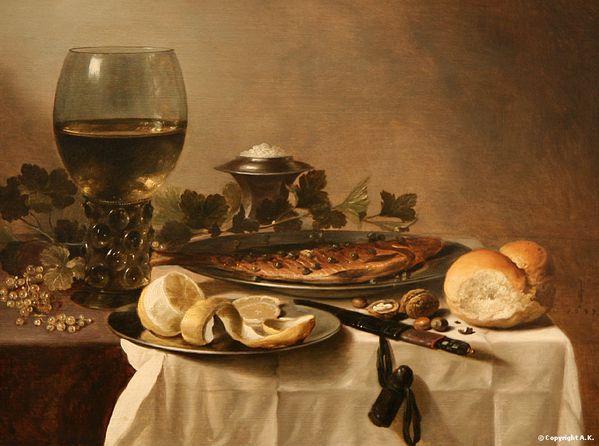 Pieter Claesz Nature morte avec hareng, vin et pain - Peint
