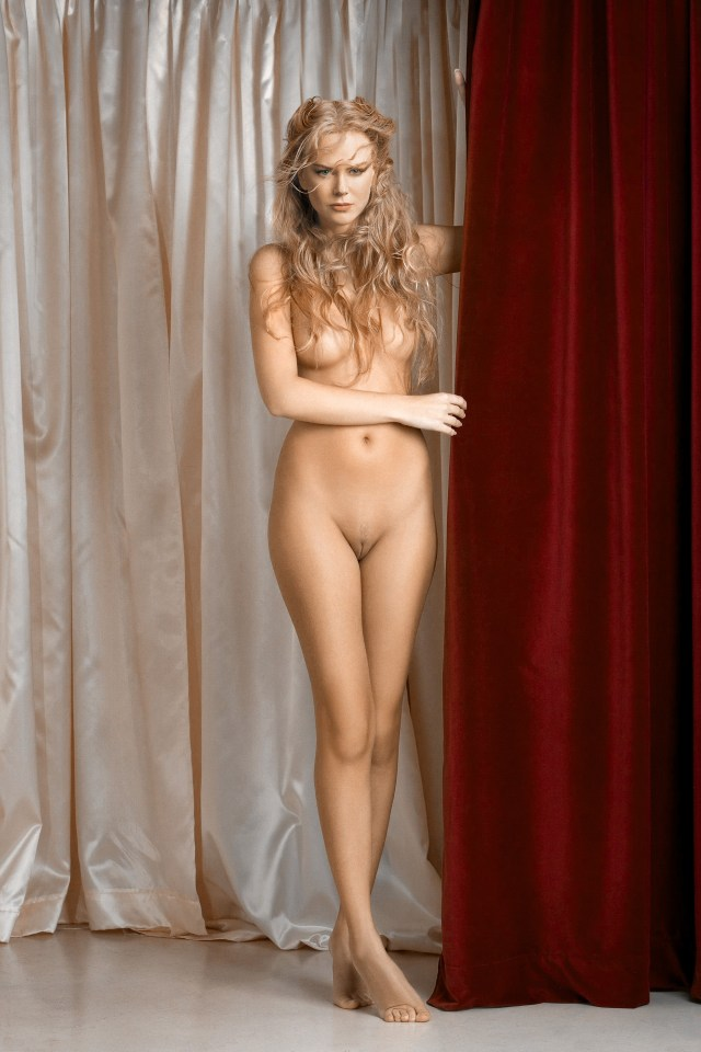 Nicole Kidman Nude Holding The Curtain