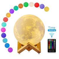 3D Mond Lampe mit Timer, DTOETKD 16 Farbe RGB Mondlicht ...