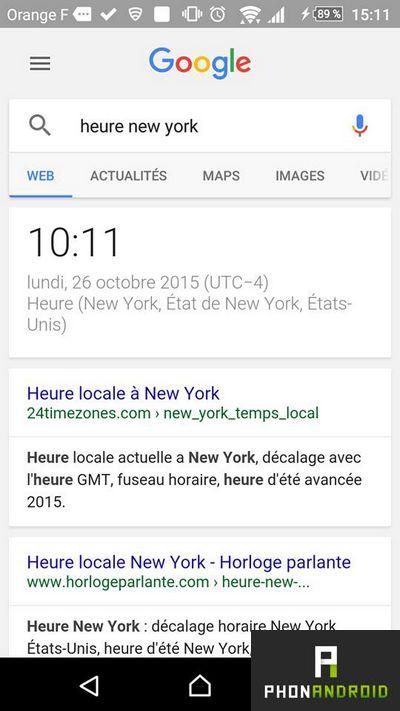 Google fuseaux horaires