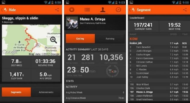 strava applications android vélo