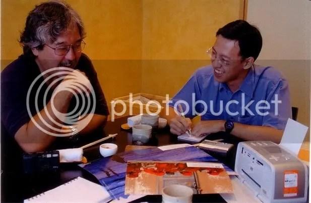 Me in blue shirt interviewing Michael Yamashita