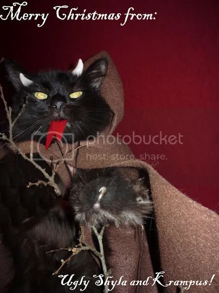 Krampus,photo,pic,pictures,cat,krampus lamb,ugly shyla,uglyshyla,humorous,funny,lol,cats,kitty,dressed,clothing,black,devil,holiday,card,Christmas,weird
