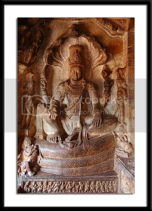 Vishnu in meditation in Cave 3 of the Cave Temples of Badami