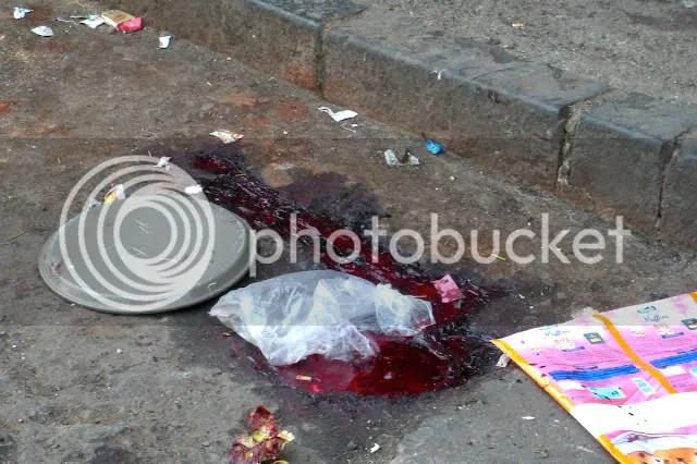 Blood of victim from Terrorist Killing Leopold Cafe Mumbai Blasts