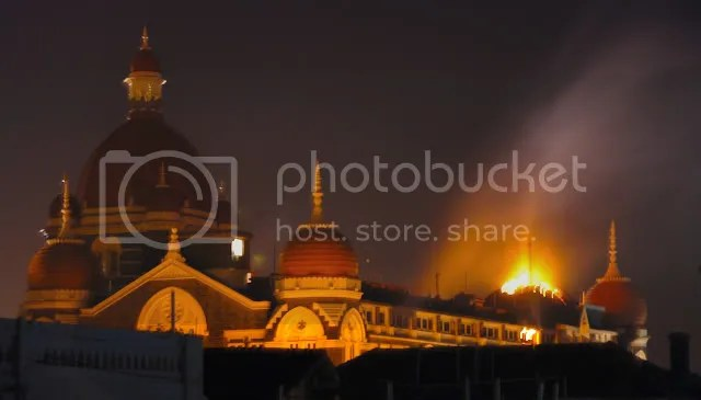Taj Dome burning