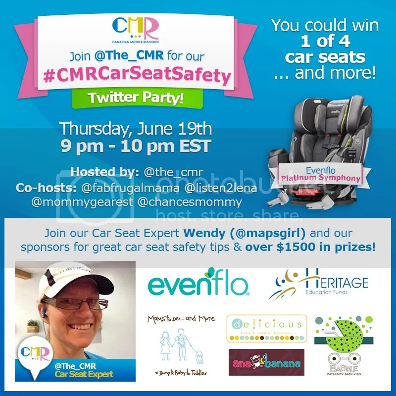 Join the @The_CMR #CMRCarSeatSafety Twitter Party - June 19 - 9pm EST