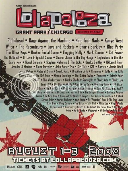 Lollapalooza 2008 flyer