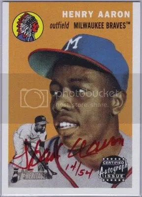 Card Of The Day Hank Aaron 2003 Topps Heritage Red Ink Auto