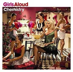 "Cover of Girls Aloud's album ""Chemistry,"" which depicts four women in a kitchen environment wrapping gifts, placing a gift beneath a large tree, eating a cookie from a cookie sheet, and preparing a turkey, respectively."