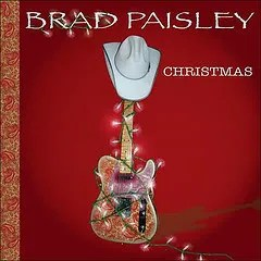 "Cover of Brad Paisley's album ""Christmas,"" which depicts an electric guitar festooned with holiday lights. There is a white cowboy hat perched atop the headstock."