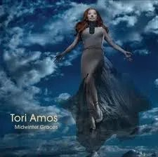"Cover of Tori Amos's album ""Midwinter Graces,"" depicting Amos floating in the sky while wearing a long sleeveless dress."