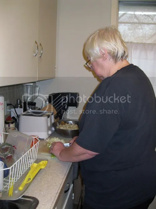 Kathy prepping potato soup
