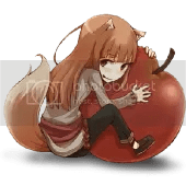 Holo (Spice and Wolf) and apple