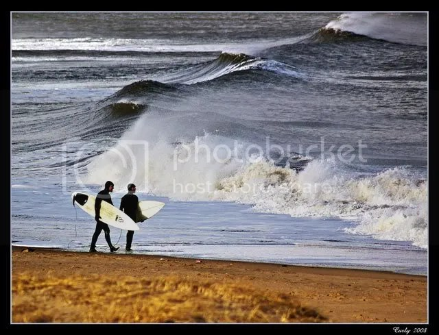 surfers on South Shields beach