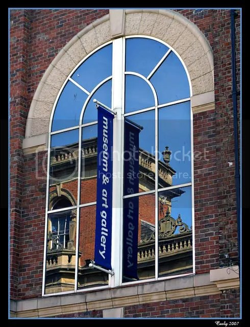 Reflections in the window of South Shields Museum and Art Gallery