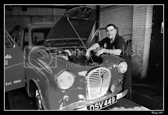 Mechanic working on old car in South Shields
