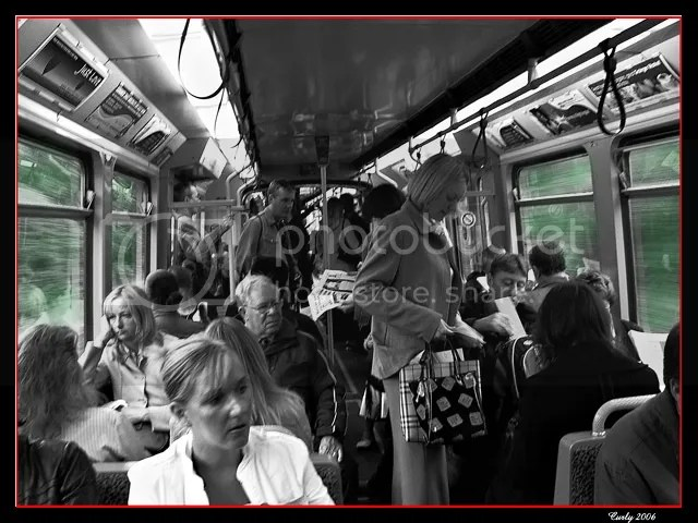 picture, inside a Metro train from South Shields