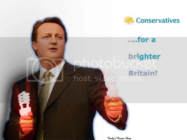 David Cameron with light bulbs