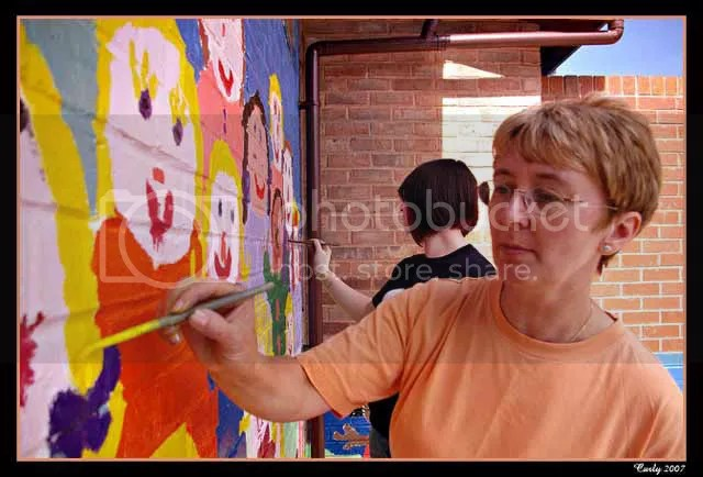 painting the school wall, South Shields