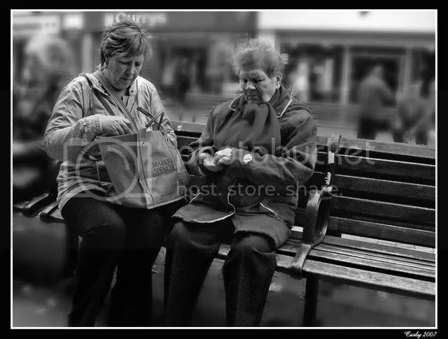 Shoppers resting in King Street, South Shields