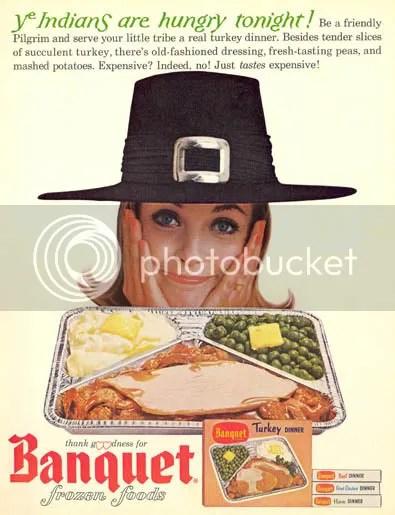 a vintage Banquet Frozen Turkey Dinner ad