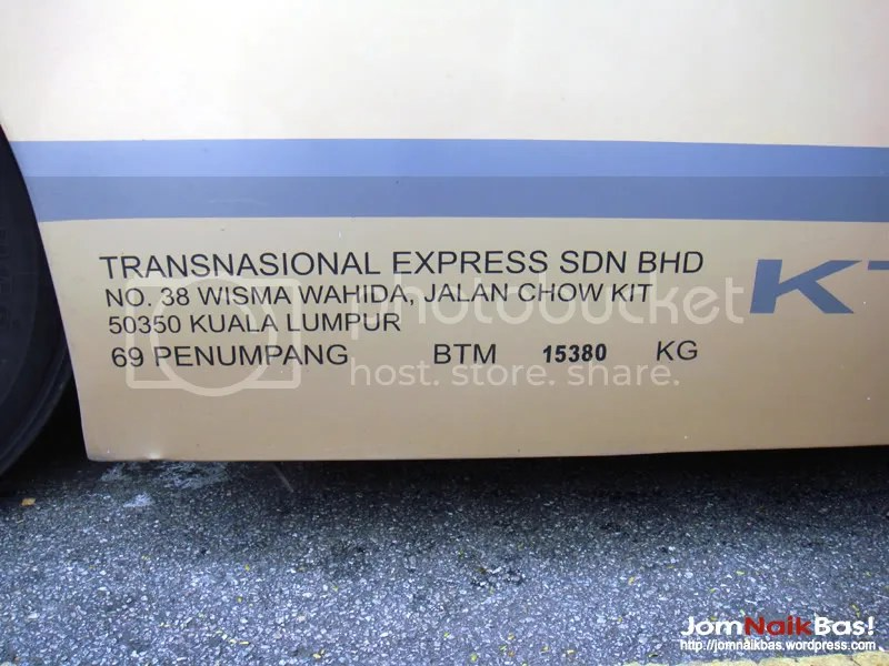 The bus permit info box, a compulsory feature of all commercial vehicles in Malaysia. This will provide information of the owner to the permit of the vehicle.