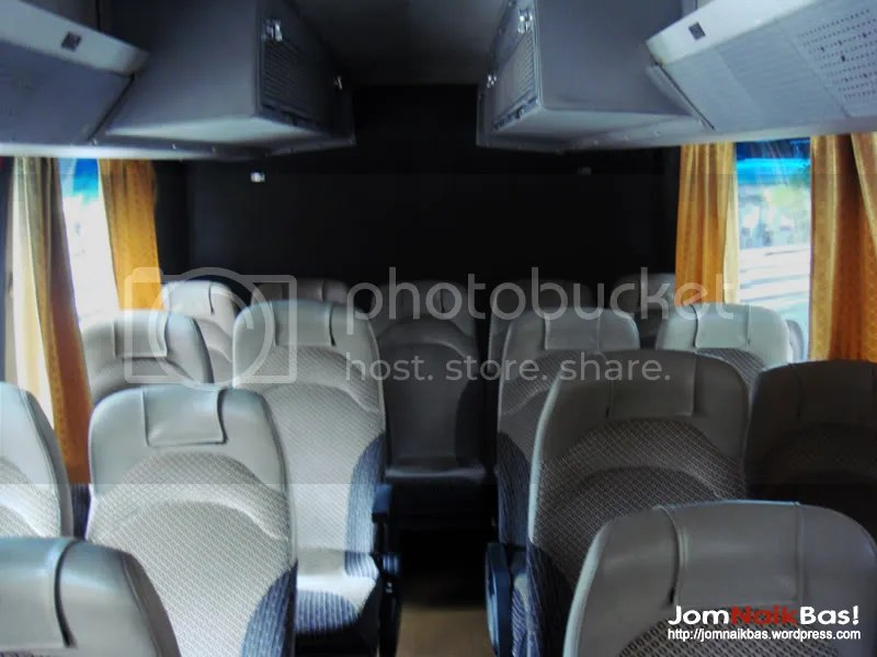 View of the upper deck rear seats. The independent air-conditioning system can be clearly seen.