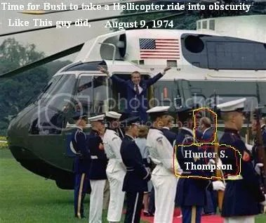 HST makes sure Nixon gets on the chopper
