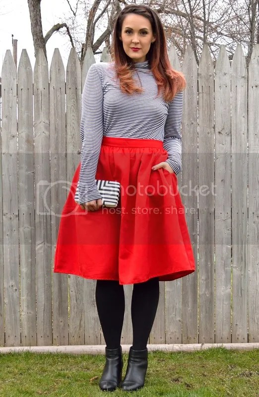 photo Striped top with red skirt.jpg