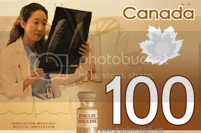 """Oh RLY $100, Canadian $100 bank note before the bank took off the """"Asian-looking"""" woman."""