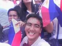 Posing ala-World Youth Day complete with Philippine flag Image hosted by Photobucket.com