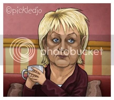 Eileen Grimshaw Cartoon, caricature, Corrie, Coronation Street.