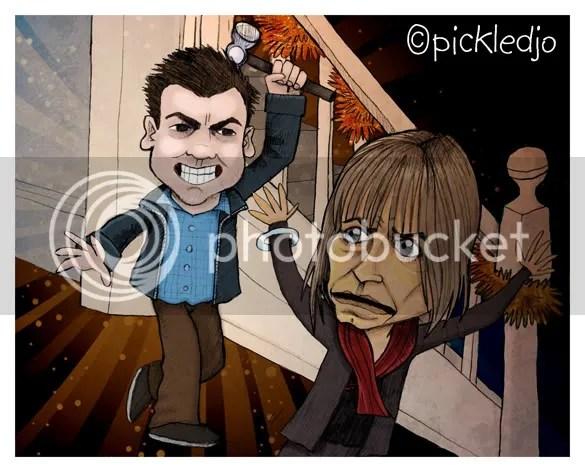 John Stape kills Charlotte with a hammer. Coronation Street 50th anniversary episode.